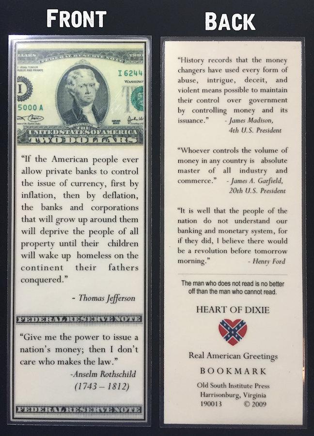American Money Bookmark Confederate Shop